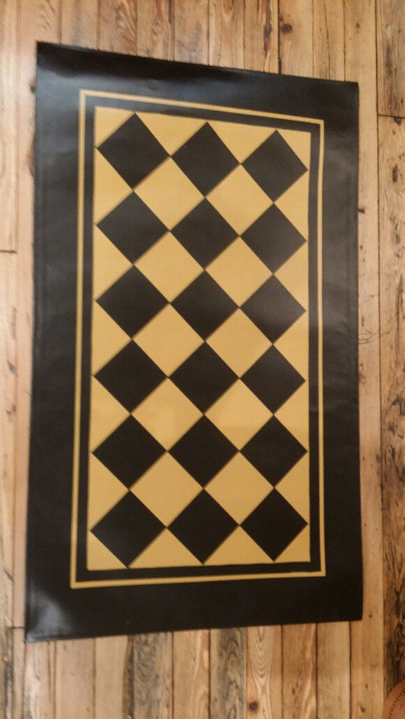 Diamond Floorcloth with Border in Mustard - Size 32'' x 52''