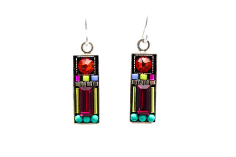 Multi Color Geometric Rectangle Earrings by Firefly Jewelry