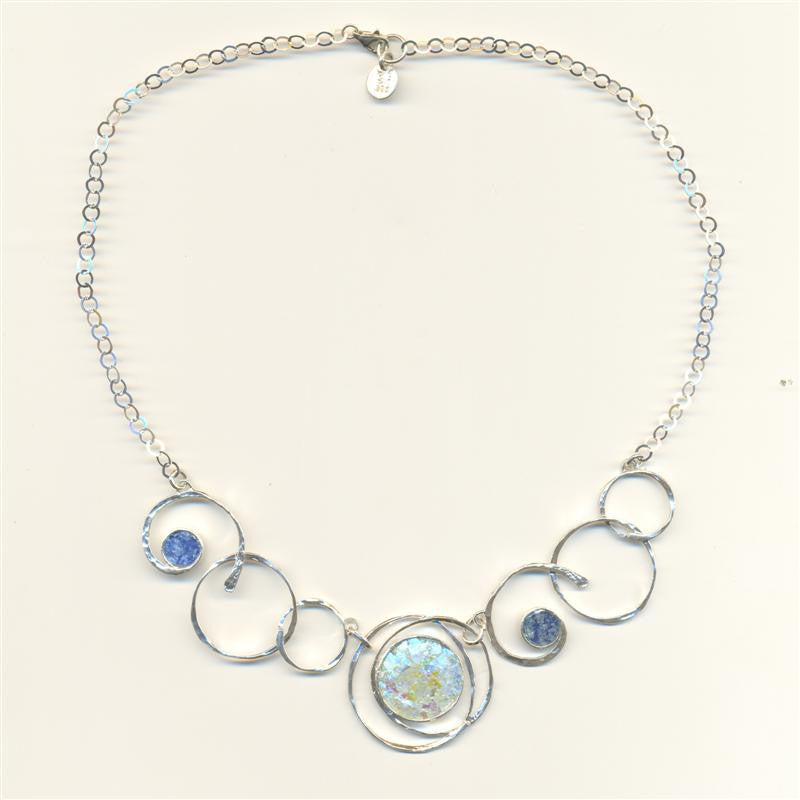 Multiple Ringed Round Patina Roman Glass Necklace