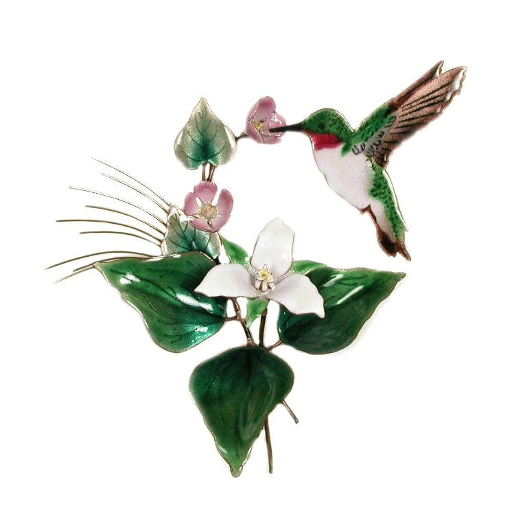 Hummingbird with Trillium Wall Art by Bovano Cheshire