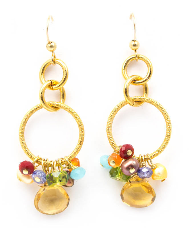 Circle Pendant Citrine Earrings by Anna Balkan
