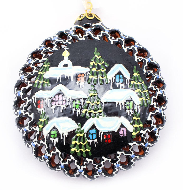 Quiet Village Large Cut Out Ceramic Ornament