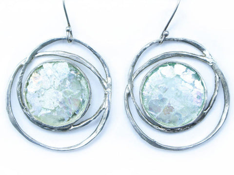 Ringed Patina Roman Glass Earrings