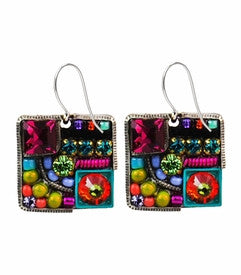 Multi Color Market Collage Square Earrings by Firefly Jewelry