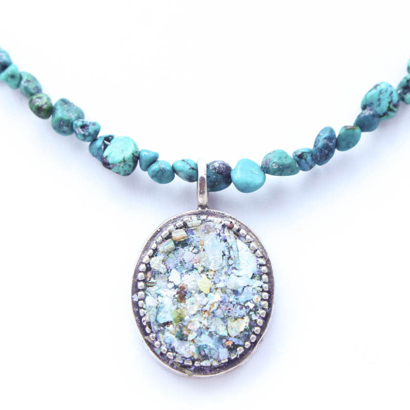 Turquoise Beaded Chain with Oval Roman Glass Necklace