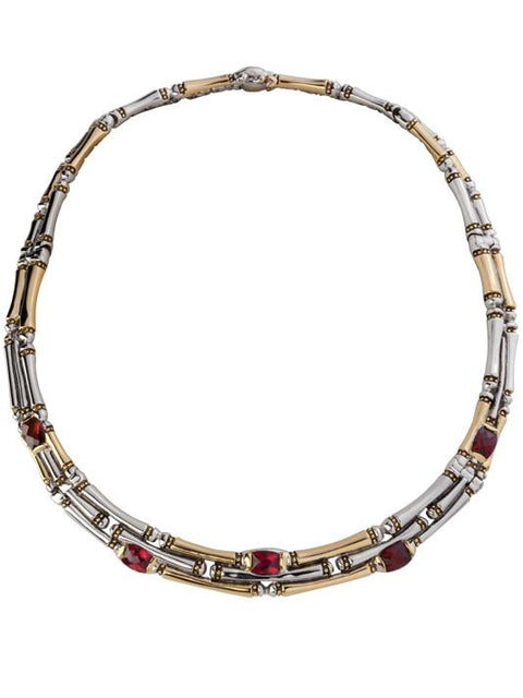 Canias 3 Row Garnet Cubic Zirconia 16 inch Necklace by John Medeiros