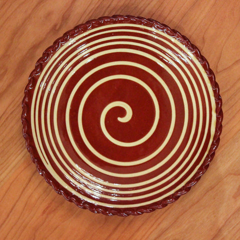 Redware 7'' Plate with Big White Swirl