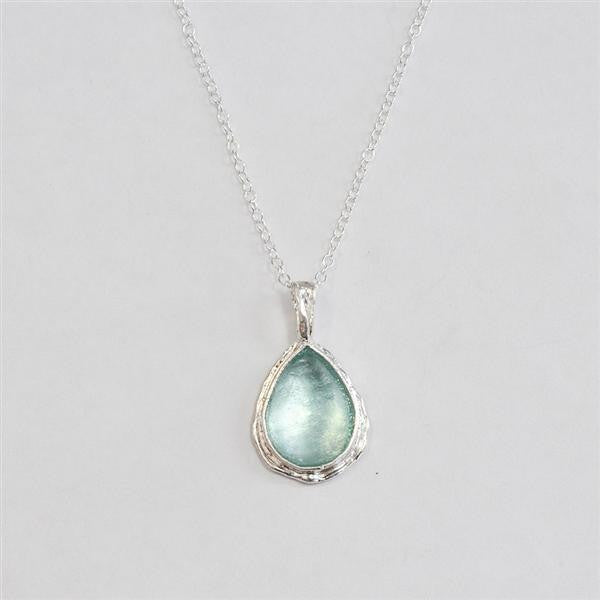 Delicately Framed Teardrop Washed Roman Glass Necklace