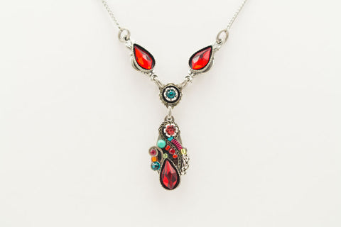 Red Lily Drop Necklace by Firefly Jewelry