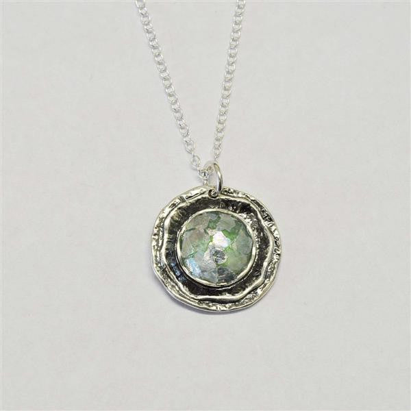 Oyster Round Patina Roman Glass Necklace