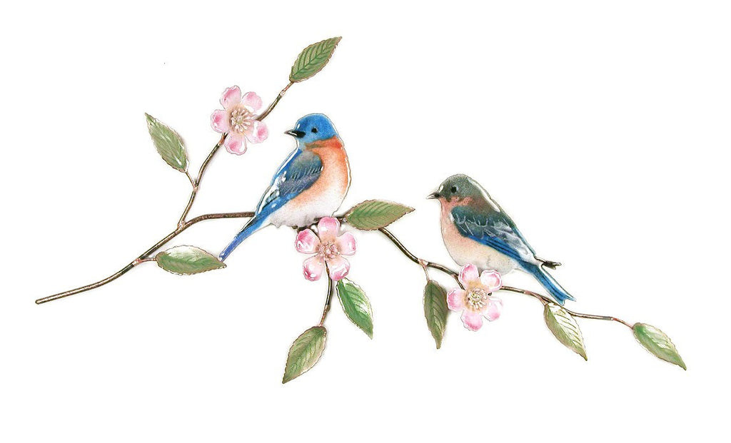 Bluebird Pair with Apple Blossom Wall Art by Bovano Cheshire