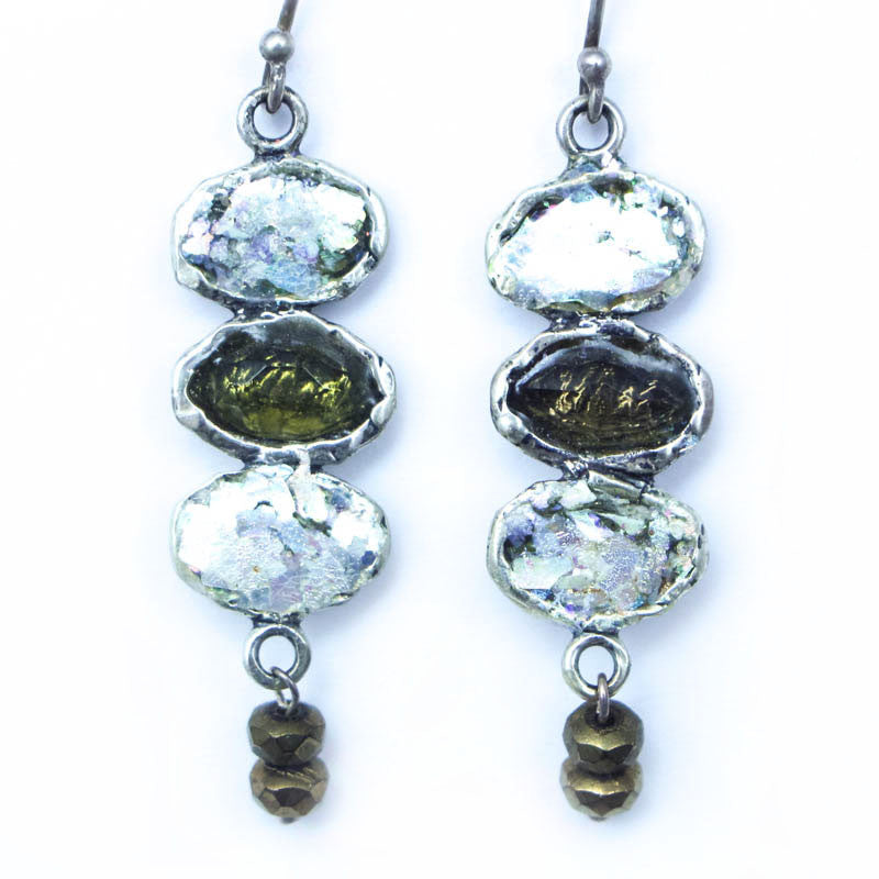 Three Ovaled Roman Glass Earrings