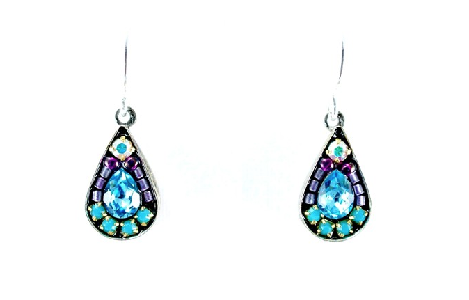 Aqua Mosaic Teardrop Earrings by Firefly Jewelry