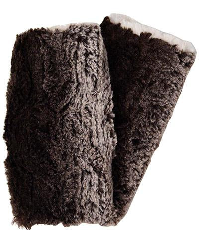 Chinchilla in Brown with Sand Luxury Faux Fur Fingerless Gloves