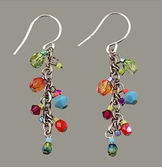 Multi Color Petite Fire Polished Cascade Earrings by Firefly Jewelry