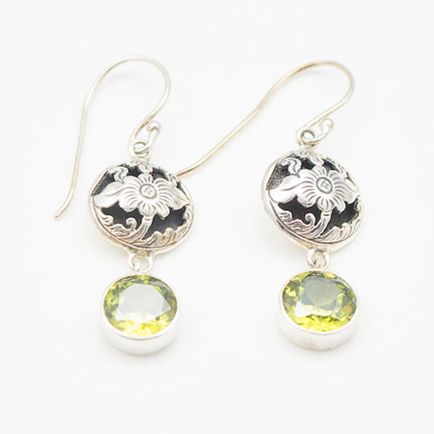 Sterling Silver Floral Cutout with Peridot Drop Earrings