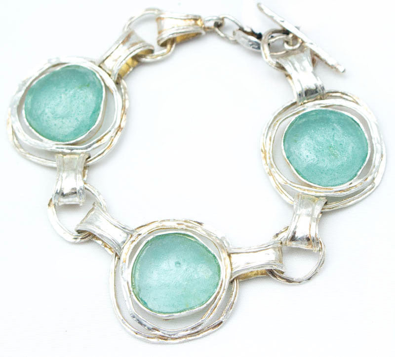 Three Ringed Round Washed Roman Glass Bracelet