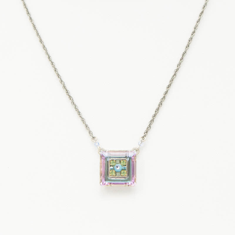 Light Blue La Dolce Vita Mosaic Square Pendant by Firefly Jewelry