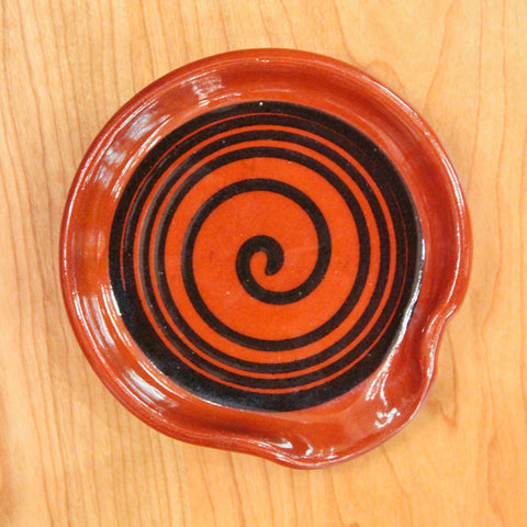 Redware Spoon Rest with Black Swirl