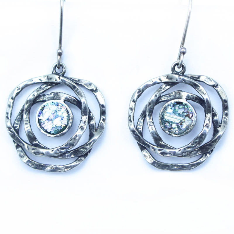 Double Loop w/Mini Circle Roman Glass Earrings
