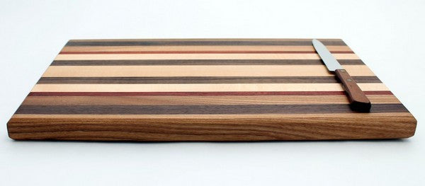 "Large Cutting Board with Stripes in Maple - Size 10""x16"""