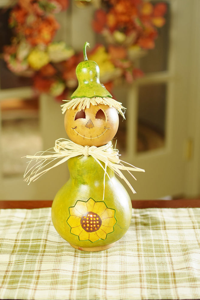Sunshine Scarecrow Small Tall Lit Gourd