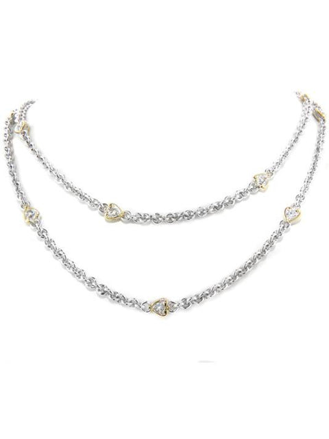 Heart Collection Clear CZ Stone Necklace with Clasp by John Medeiros