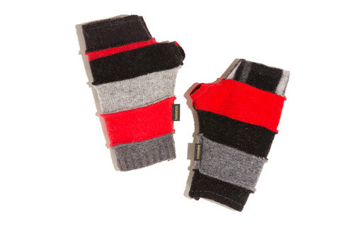 Wool Fingerless Gloves in Red, Black and Grey