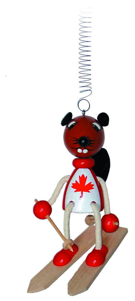 Canadian Beaver Skiier Handcrafted Wooden Jumpie