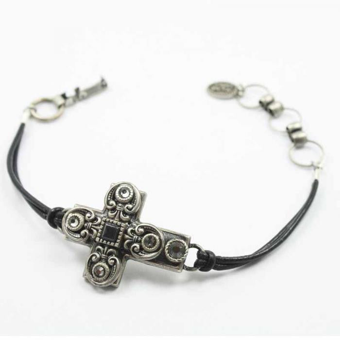 Black and Silver Small Cross Leather Bracelet by Michal Golan
