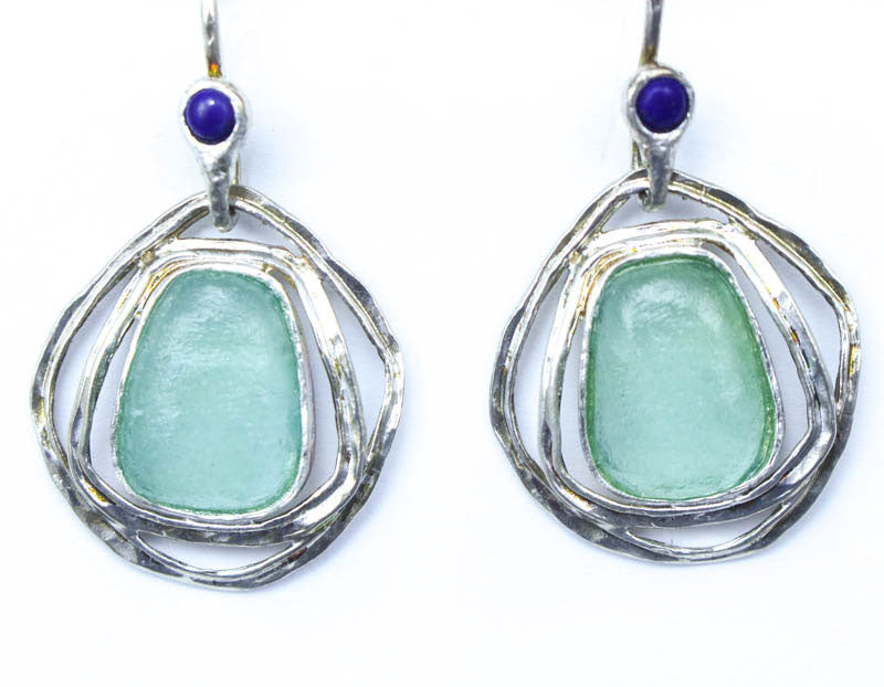 Lapis with Three Ringed Oval Washed Roman Glass Earrings