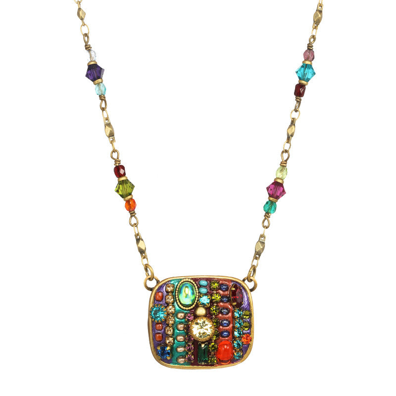 Multi Bright Square on Beaded Chain Necklace by Michal Golan