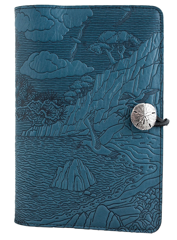 Large Leather Journal - Cypress Cove in Sky Blue
