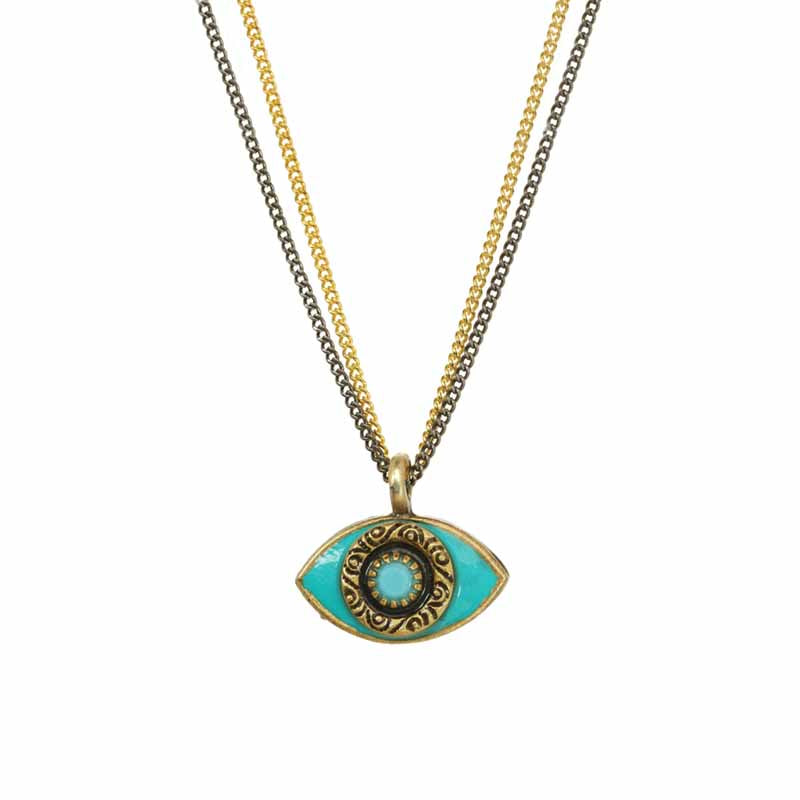 Medium Green/Blue Eye on Two Chains Necklace