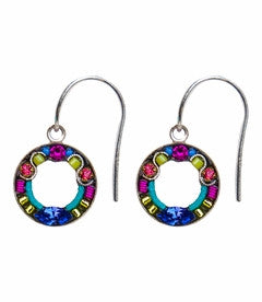 Multi Color Round Colorful Earrings by Firefly Jewelry