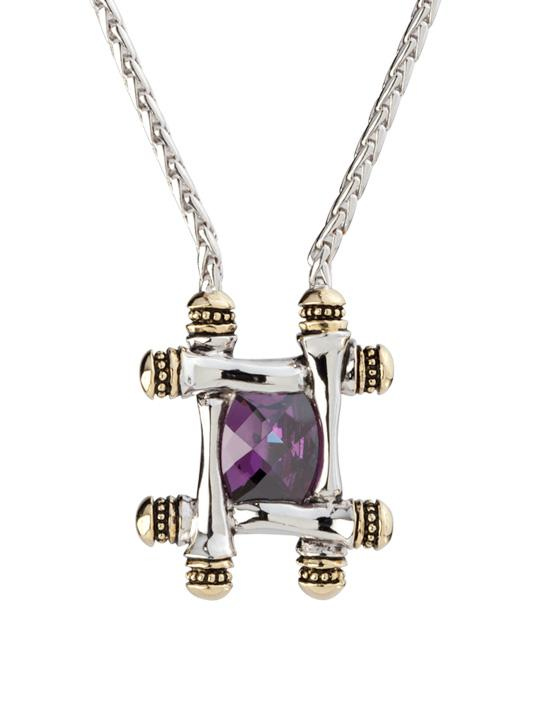 Cor Collection Square Pendant Necklace Amethyst by John Medeiros