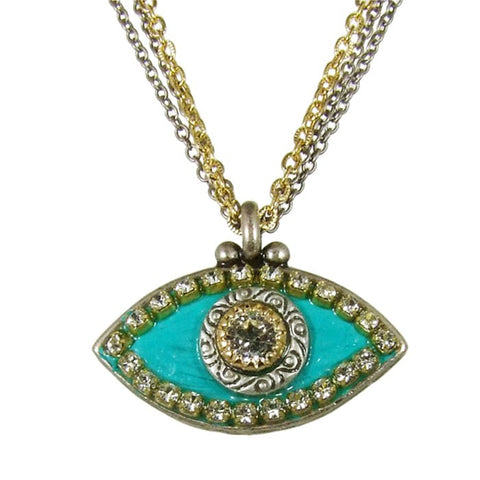 Green Eye with Clear Center Necklace