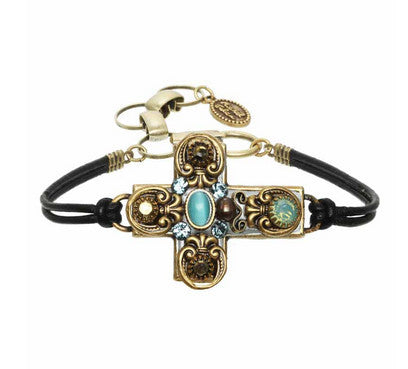 Gold and Blue Crystal Cross Leather Bracelet by Michal Golan