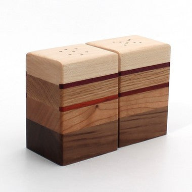 Striped Salt and Pepper Shakers in Maple