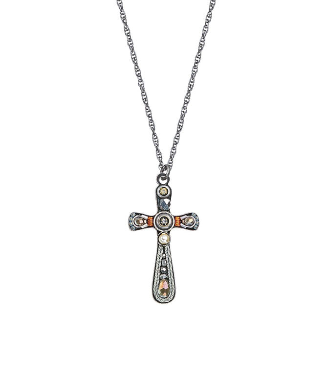 Silver and Orange Medium Cross Necklace by Ayala Bar