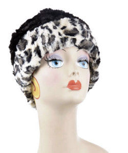 White Jaguar and Black Luxury Faux Fur Cuffed Pillbox Hat