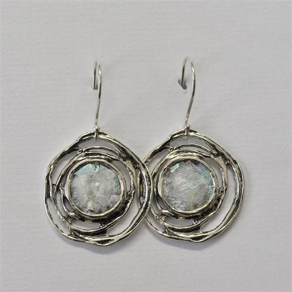 Open Rose Framed Round Patina Roman Glass Earrings