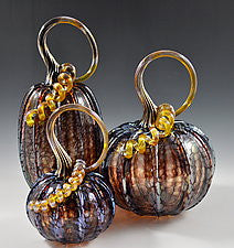 Hand Blown Glass Gourd in Iridescent Eggplant