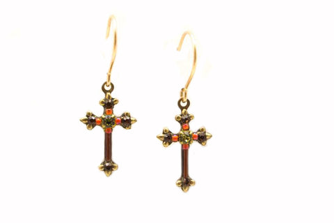 Smokey Topaz Dainty Cross Earrings by Firefly Jewelry