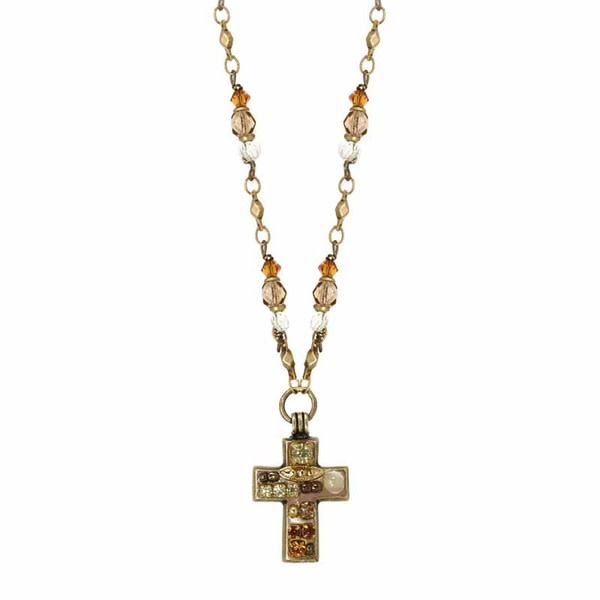 Beige Mini Bead Chain Cross Necklace