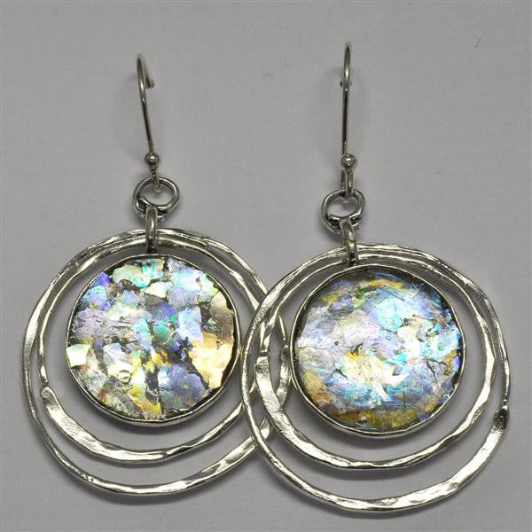 Offset Ringed Round Patina Roman Glass Earrings