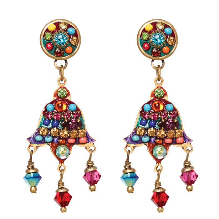 Multi Bright Two Part Three Dangle Earrings by Michal Golan