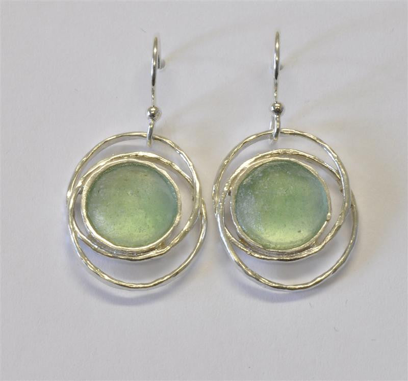 Tight Ringed Round Washed Roman Glass Earrings
