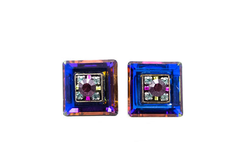 Amethyst La Dolce Vita Crystal Square Post Earrings by Firefly Jewelry