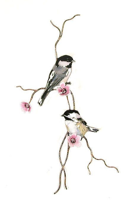 Two Chickadees on Branch with Pink Flowers Wall Art by Bovano Cheshire